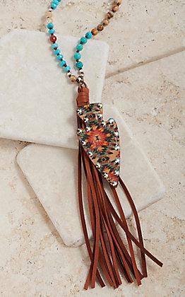 Pink Panache Turquoise Multi Beaded Aztec Arrowhead Tassel Necklace