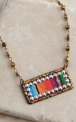 Pink Panache Serape Sideways Rectangle Pendant Beaded Necklace