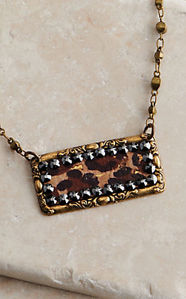 Pink Panache Bronze with Leopard Inlay and Crystals Necklace