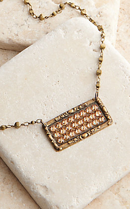 Pink Panache Bronze Rectangle with Bronze Crystals Necklace
