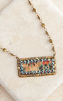 Pink Panache Bronze Rectangle with Aztec Inlay and Crystals Beaded Necklace