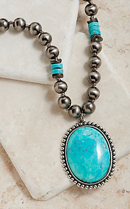 Pink Panache Silver Beaded With Turquoise Oval Pendant Necklace