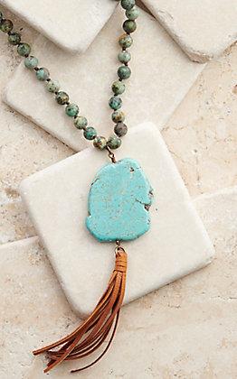 Pink Panache Turquoise Beaded Turquoise Stone Tassel Necklace