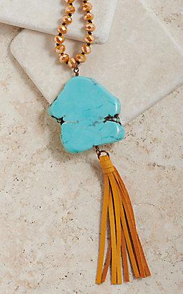 Pink Panache Mustard Crystal Beaded Turquoise Stone Tassel Necklace