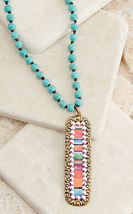 Pink Panache Bronze and Serape Crystal Turquoise Beaded Necklace