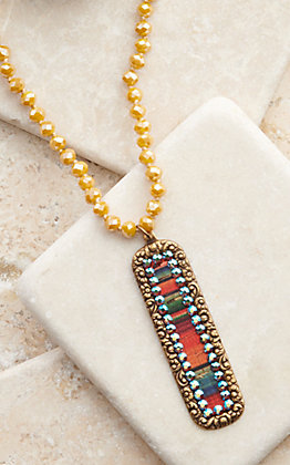 Pink Panache Bronze Rectangle with Serape Inlay and Crystals Mustard Beaded Necklace