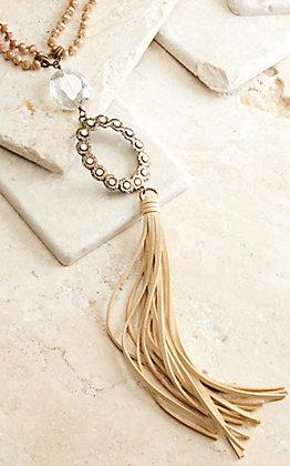 Pink Panache Cream Beads with Bronze Pendant and Cream Tassel Necklace
