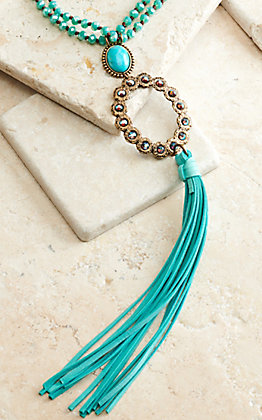 Pink Panache Turquoise Beads with Bronze Pendant and Turquoise Tassel Necklace