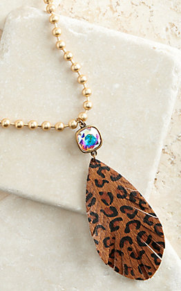 Pink Panache Brushed Gold Ball Chain with Dark Leopard Print Feather and Crystal Pendant Necklace