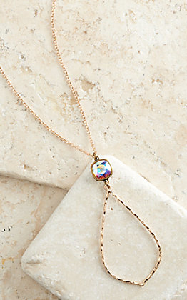 Pink Panache Bronze Hammered Teardrop with Iridescent Crystal Pendant Necklace