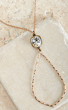 Pink Panache Gold Hammered Teardrop with Crystal Pendant Necklace
