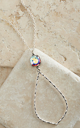 Pink Panache Silver Hammered Teardrop with Iridescent Crystal Pendant Necklace