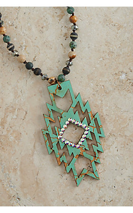 Pink Panache Turquoise Crackle Wood Aztec Pendant with Iridescent Crystals Beaded Necklace