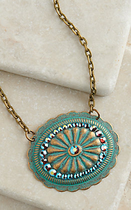 Pink Panache Bronze and Turquoise Medium Oval Concho with Crystals Necklace