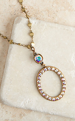 Pink Panache Bronze and Clear Crystal Open Oval Necklace