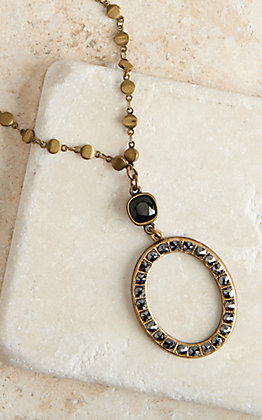 Pink Panache Bronze Chain with Black Crystals Open Oval Necklace