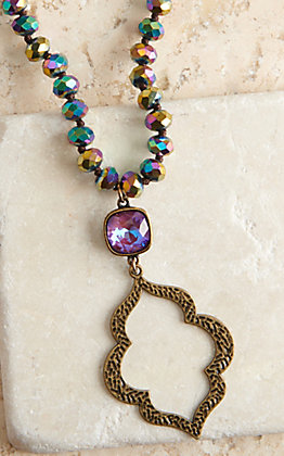 Pink Panache Rainbow Crystal Cut Beads and Bronze Moroccan Pendant Necklace