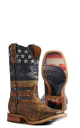 Tin Haul Men's Tan Freedom Flag Wide Square Toe Western Boots