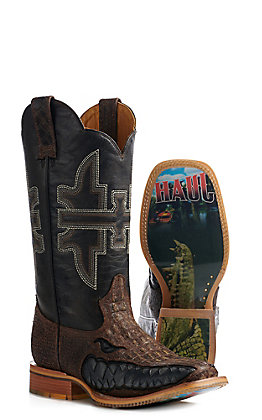 Tin Haul Men's Brown Gator Print Swamp Chomp Wide Square Toe Western Boots