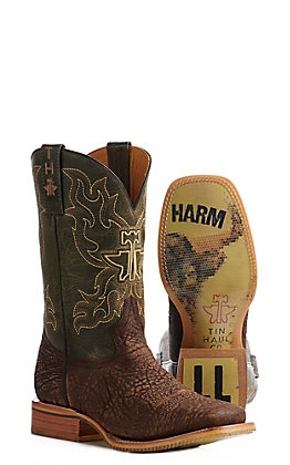 Tin Haul Men's Brown and Green Take No Bull Wide Square Toe Western Boots