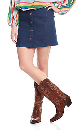 Newbury Kustom Women's Denim Button Down Skirt