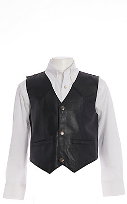Scully Boys' Black Lambskin with Satin Back Vest