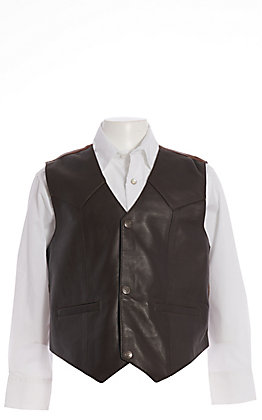 Scully Boys' Brown Lambskin with Satin Back Vest