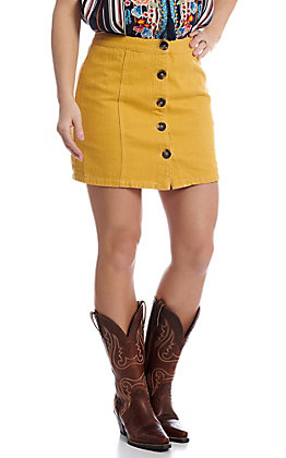 Newbury Kustom Women's Button Down Mustard Skirt