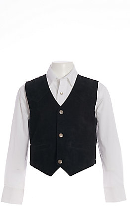 Scully Boys' Black Suede with Satin Back Vest