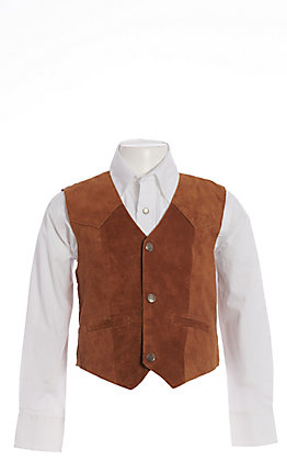 Scully Boys' Bourbon Brown Suede with Satin Back Vest