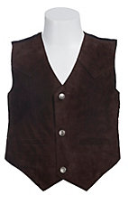 Scully Kids Chocolate Brown Suede Western Cut Vest