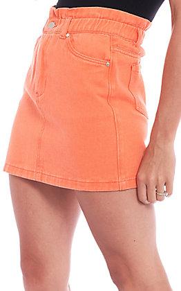Newbury Kustom Women's Solid Orange Paper Bag Denim Skirt
