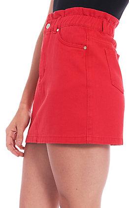 Newbury Kustom Women's Solid Red Paper Bag Denim Skirt