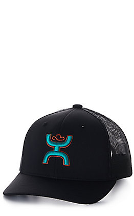 Hooey Youth Sterling Black with Turquoise and Orange Logo Cap