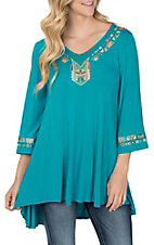 Anne French Women's Turquoise with Gold Embroidery Tunic Fashion Shirt