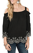 Anne French Black with Silver Embroidery Off the Shoulder Fashion Shirt