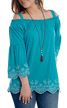Anne French Turquoise Off the Shoulder Bell Sleeve Fashion Top