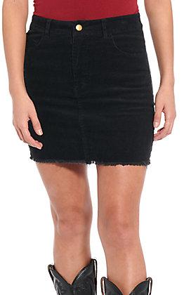 Newbury Kustom Women's Black Cord Skirt