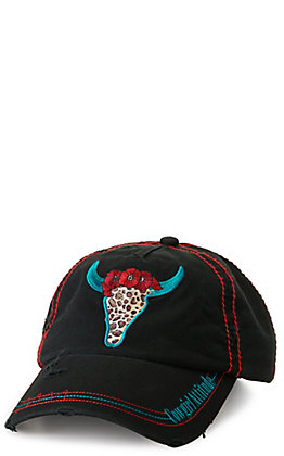 Catchfly Women's with Leopard Black Cow Skull Embroidered Cap