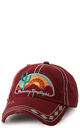 Catchfly Women's Maroon Burnin' Daylight Embroidered Cap