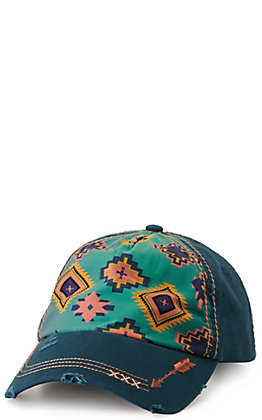 Catchfly Women's Blue with Turquoise Aztec Print Cap