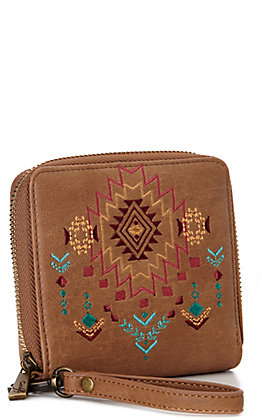 Catchfly Tan with Aztec Embroidery Zipper Wallet