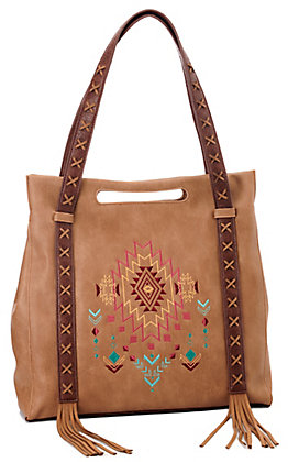 Catchfly Tan with Aztec Embroidery and Fringe Concealed Carry Tote