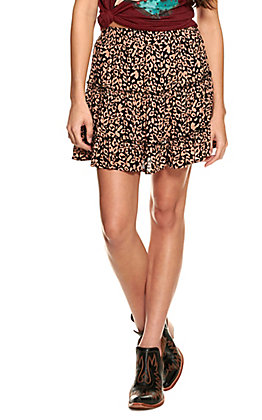 Newbury Kustom Women's Black with Pink Leopard Print Tiered Skirt