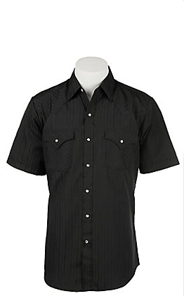 Ely Cattleman S/S Tone on Tone Solid Black Shirt