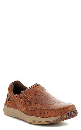 Roper Men's Vintage Cognac Ostrich Print Slip On Casual Shoes