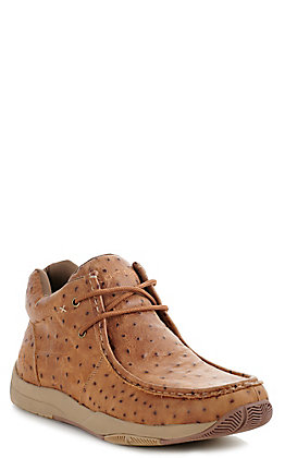 Roper Men's Tan Vintage Ostrich Print Chukka Casual Shoes
