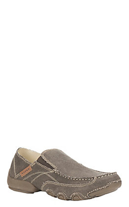 Roper Men's Brown Canvas Casual Slip-On Shoes