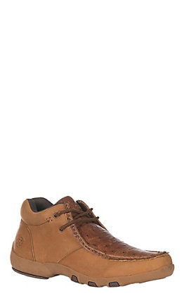 Roper Men's Tan with Ostrich Print Casual Shoe