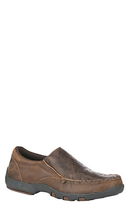 Roper Men's Owen Exotic Ostrich Slip On Casual Shoe